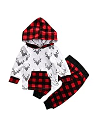 Baby Boy Girl 2pcs Christmas Suit Hoodies Deer Print Long Sleeve Top+Plaid Pants