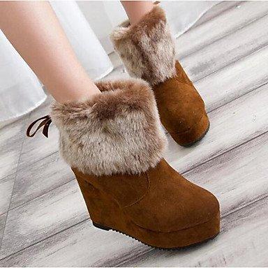RTRY Zapatos de mujer Cuero auténtico cuero Nappa Nieve del invierno botas botas botas de moda/tobillo talón plano botines botas para Casual Negro Marrón rojo US5.5 / EU36 / UK3.5 / CN35