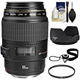 Canon EF 100mm f/2.8 Macro USM Lens with Filter + Lens Hood + Accessory Kit for EOS 6D, 70D, 5D Mark II III, Rebel T3, T3i, T4i, T5, T5i, SL1 DSLR Cameras