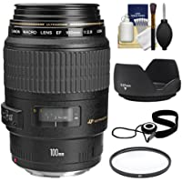 Canon EF 100mm f/2.8 Macro USM Lens with Filter + Lens Hood + Accessory Kit for EOS 6D, 70D, 5D Mark II III, Rebel T3, T3i, T4i, T5, T5i, SL1 DSLR Cameras Key Pieces Review Image