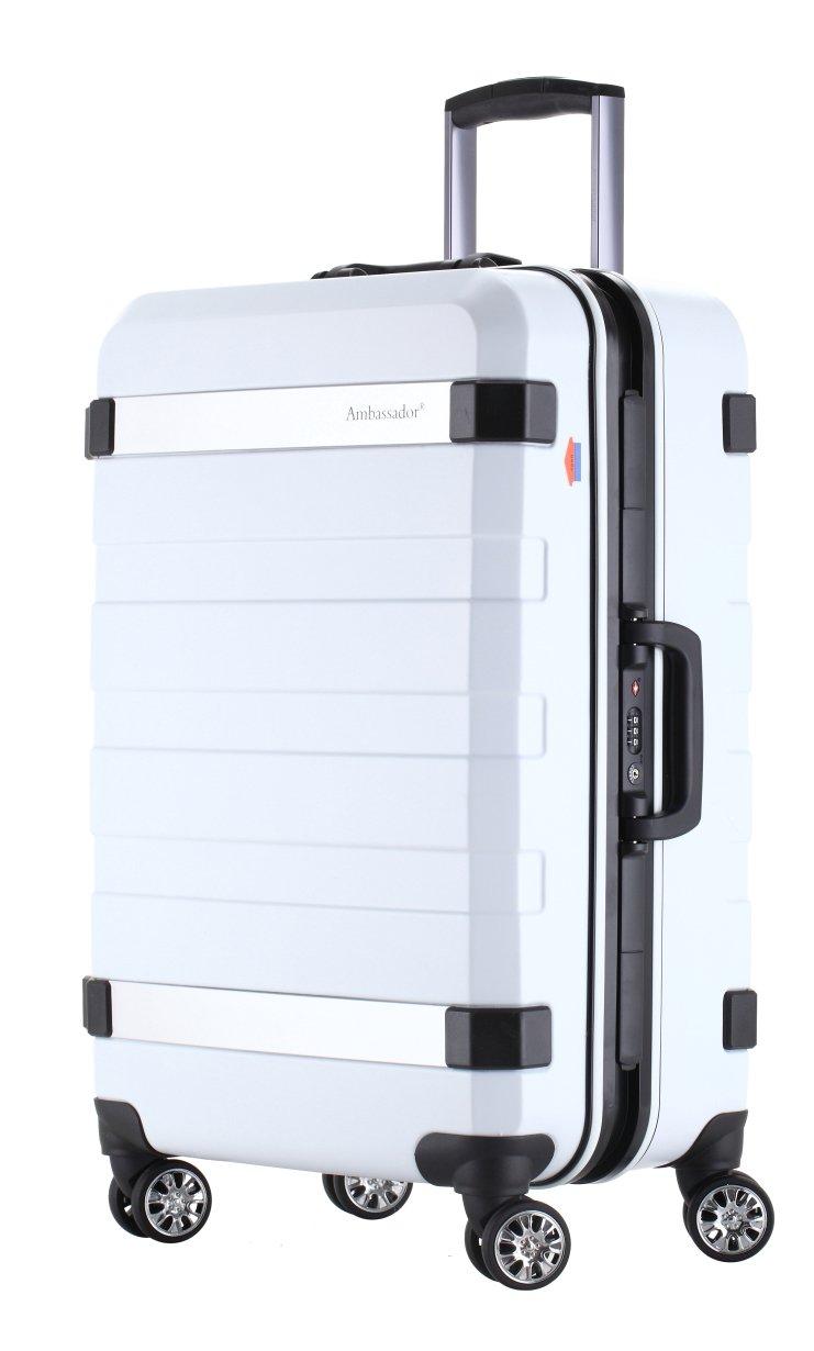 Ambassador Luggage Designer 20 Inch Carry On Luggage Fashion Aluminum Frame Polycarbonate Spinner Suitcase White