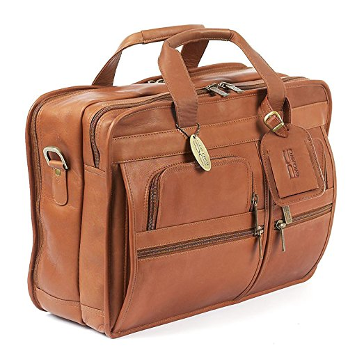 Claire Chase Executive Leather Computer Briefcase (Saddle) (13