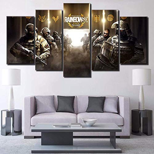 BOYH 5 Pieces HD Wall Art Prints On Canvas Modular Tom Clancy's Rainbow Six Siege Game Home Decoration Office - Tom 169