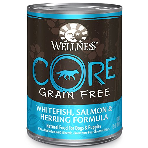 Wellness CORE Natural Wet Grain Free Canned Dog Food, Salmon, Whitefish & Herring, 12.5-Ounce Can (Pack of 12)