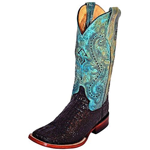 - Ferrini Women's Ladies Print Caiman Blk/Turq Square Toe Western Boot, Black, 9 B US
