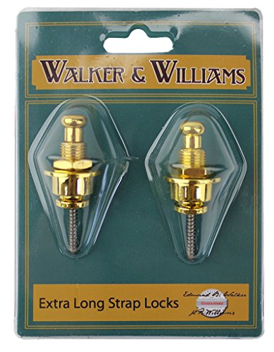 Walker & Williams Gold Extra Long Deep Barrel Strap Locks for Thick Guitar Straps