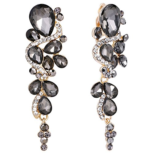 (BriLove Wedding Bridal Clip On Earrings for Women Bohemian Boho Crystal Multiple Teardrop Chandelier Dangle Earrings Grey Black Gold-Toned )