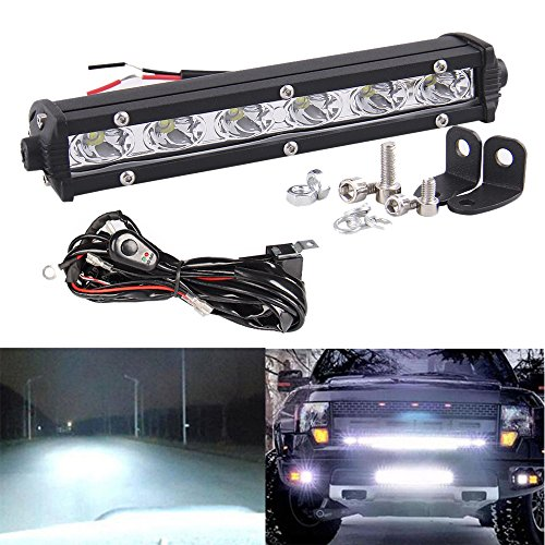 CarBole Slim 7 Inch 18W LED Work Light Bar with 6.6ft 12V 40A Wiring Harness Kit Single Row Driving Lamp UTE ATV SUV ()