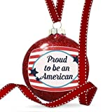 Christmas Decoration Proud to be an American Fourth of July America Stars and Stripes Ornament