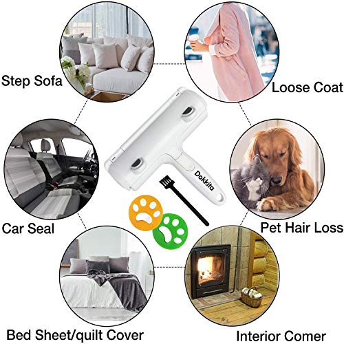 Dokkita Pet Hair Remover Roller For Furniture and Laundry, Cat Dog Lint Roller Brush Washable Reusable + 2 Washing Machine Pet Hair Catcher, Pet Fur Remover for Carpet, Bedding, Clothes, Sofa