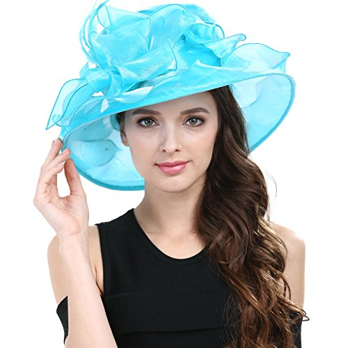 Janey&Rubbins Women Kentucky Derby Cocktail Organza Yarn Dress Hats Church Caps (Cyan)