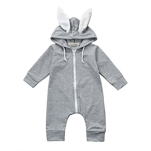 Kehen Toddler Unisex Baby Rabbit Long Ears Hoodies Zipper Bunny Romper Outfit Easter Clothes (0-6 Months, 3)