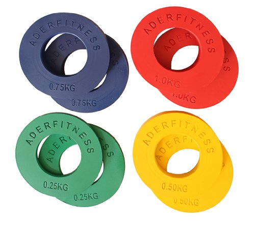 Olympic Fractional Plates 0.25, 0.50, 0.75, 1.00 Kg(.55, 1.1, 1.65, 2.2 Lbs) 4 Pairs Great Gift Idea! by Ader Sports