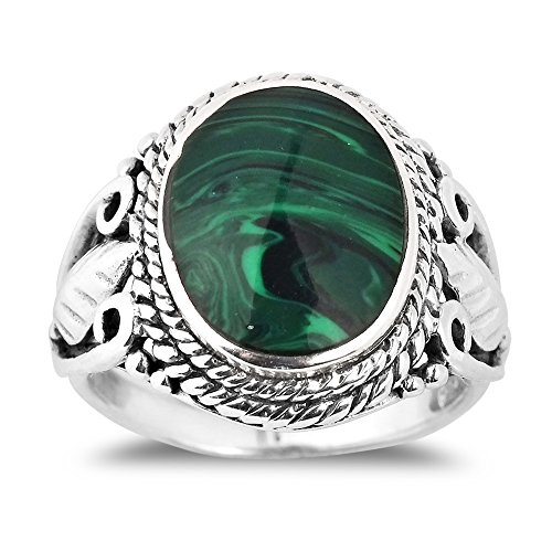 - AeraVida Vintage Inspired Round Green Malachite Nature .925 Sterling Silver Ring (6)