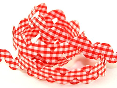 - 20mm Gingham Padded Floral Ric Rac Trimming Red - per metre