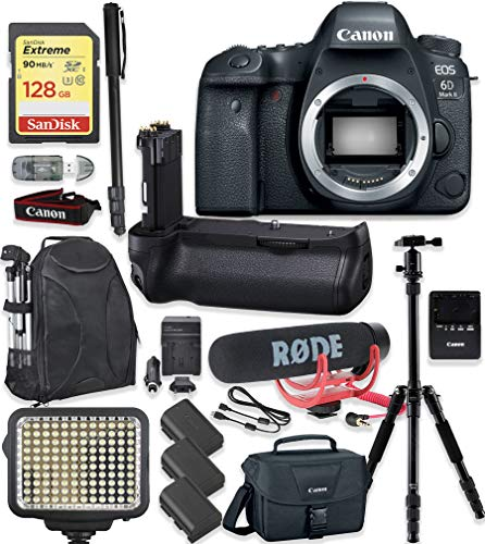 Canon EOS 6D Mark II DSLR Camera Body Only Kit + 128GB Sandisk Extreme Memory + Video LED Light + Rode Microphone + 60″ Portable Tripod + Professional Kit
