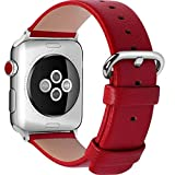 15 Colors for Apple Watch Bands 42mm and 38mm, Fullmosa Yan Calf Leather Replacement Band/Strap with Stainless Steel Clasp for iWatch Series 0 1 2 3 Sport and Edition Versions 2015 2016 2017, 38mm Red