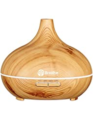 Breathe Essential Oil Diffuser, 10 Hour Diffusers for Essential Oils | Ultra Quiet Aromatherapy for Office Home Bedroom Living Room Yoga Spa| Humidifier, Large 300 ml, BPA Free, Wood Grain