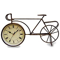 JustNile Antique-Style Table/Desk Clock - 6 Bronze Bicycle with Roman Numerals