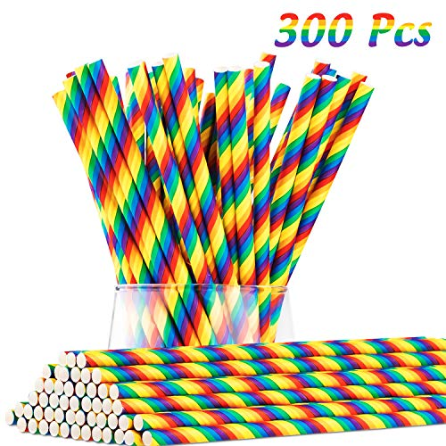 (Whaline 300Pcs Rainbow Paper Straws, Biodegradable Stripe Paper Drinking Straws for Juices, Shakes, Smoothies, Party Supplies Decorations Birthday, Wedding,)