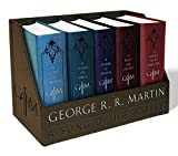 capa de George R. R. Martin's A Game of Thrones Leather-Cloth Boxed Set (Song of Ice and Fire Series): A Game of Thrones, A Clash of Kings, A Storm of Swords, A Feast for Crows, and A Dance with Dragons
