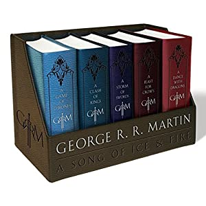 A-Game-of-Thrones-Leather-Cloth-Boxed-Set-A-Game-of-Thrones-a-Clash-of-Kings-a-Storm-of-Swords-a-Feast-for-Crows-and-a-Dance-with-Dragons