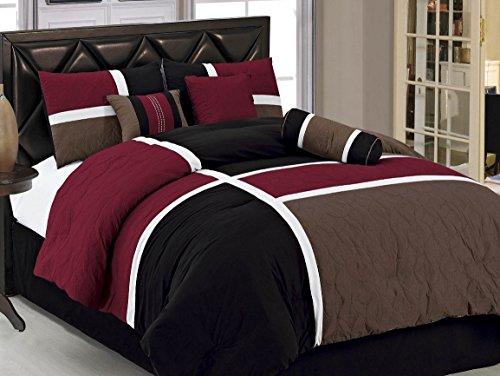 JBFF Luxury Quilted Patchwork Comforter Set, California King, Burgundy/Brown/Black, 7 Piece