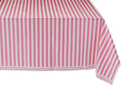 Hot Pink Striped Plastic Tablecloth