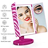 Makeup Mirror, Glamfields 360° Vanity Mirror with 44 LED Lights, Large Trifold Lighted Makeup Mirror with Portable 10X Magnification Mirror,Detachable Base,Touch Screen Dimming (Rose)