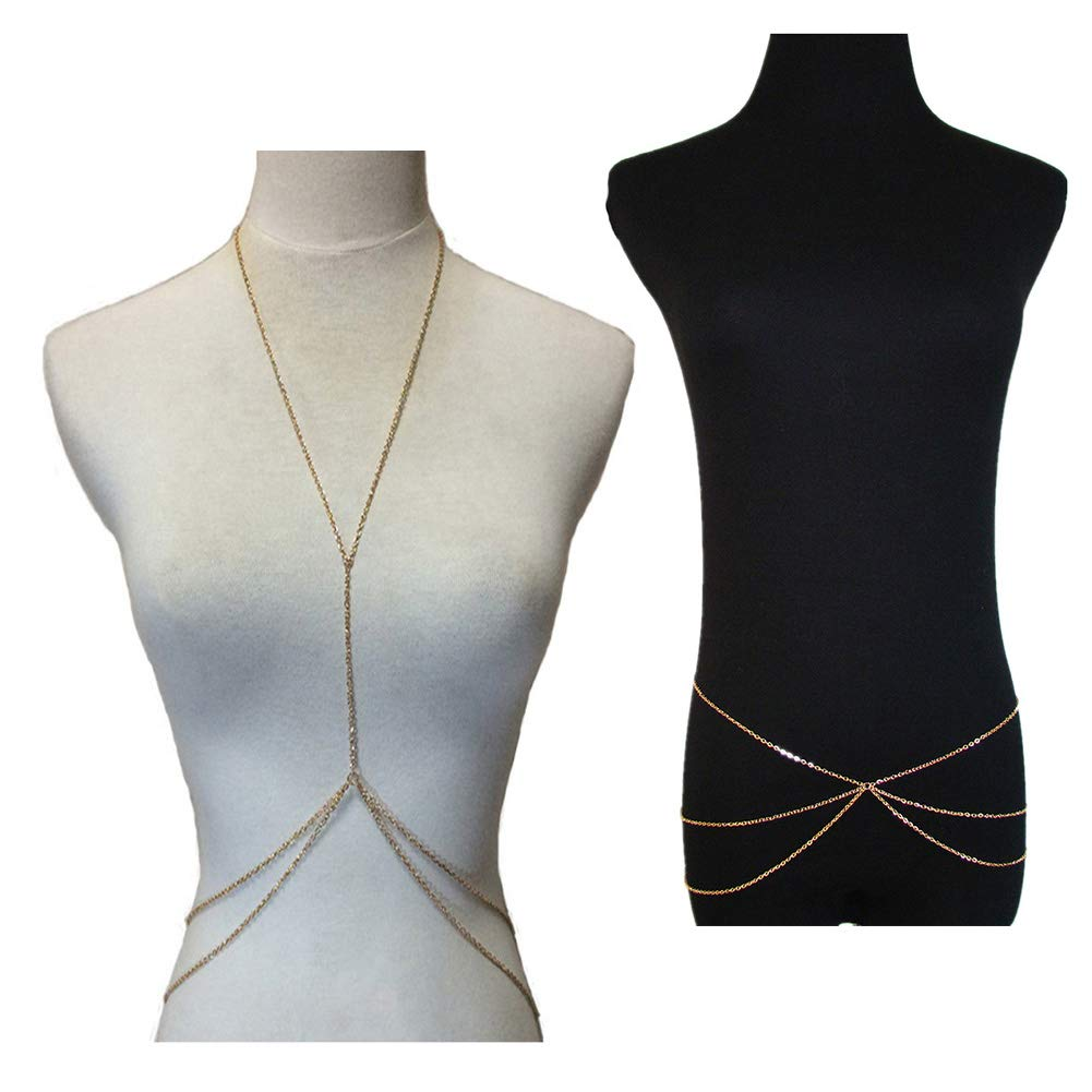 Belly Jewelry & Body Chain,Hot Bikini Double Layer Cross Over Harness Body Jewelry Golden Waist Charm Belly Chain (2pcs)