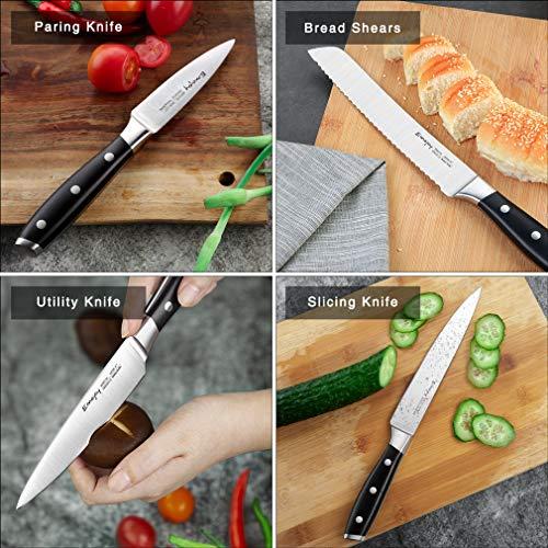 Knife Set, 8-Pieces Kitchen Knife Set with Block Wooden, Self Sharpening Manual for Chef Knife Set, German Stainless Steel, Emojoy (Gray) by Emojoy (Image #2)