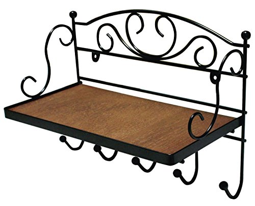 JustNile Antique Wall Mounted Solid Wooden Shelf with 5 Hanging Hooks; Classic Style Shelf and Rack; Easy to Install, for Mugs, Keys, Coats, Scarfs; Rustic Iron Frame Design from JustNile