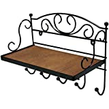 JustNile Antique Wall Mounted Solid Wooden Shelf with 5 Hanging Hooks; Classic Style Shelf and Rack; Easy to Install, for Mugs, Keys, Coats, Scarfs; Rustic Iron Frame Design