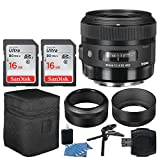 Sigma 30mm f/1.4 DC HSM Art Lens for Canon + 32GB Memory Card + Hi-Speed SD USB Card Reader + Table Tripod/Hand Grip + 3 Piece Cleaning Kit – Lens Accessory Bundle