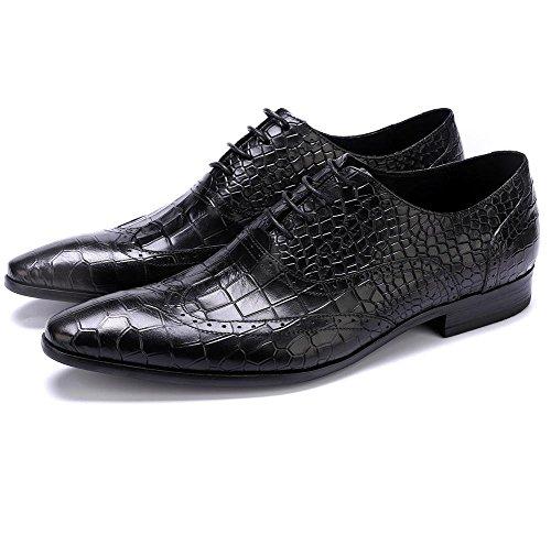 Pietra Formale Uomini Pelle Attivit Allacciare Nero Scarpe Vestito Casuale Modello XIE Nozze YFwggS