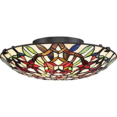 Quoizel TFRB1716VB Semi Red Blossom Flush Mount, Large, Vintage Bronze