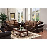 Furniture of America Lozano 3 Piece Sofa Set in Dark Brown