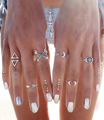 Cougar's Choice 6 Pcs Vintage Arrow Moon Turquoise Joint Knuckle Nail Midi Rings