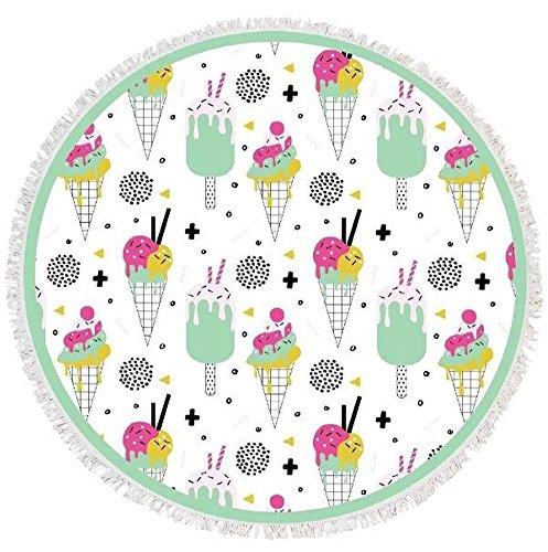 Pique Ice Cream - Olive & Pique Round Ice Cream Beach Blanket Towel Scarf Shawl Yoga Mat (White)