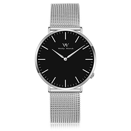 Welly Merck Swiss Movement Sapphire Crystal Men Luxury Watch Minimalist Ultra Thin Slim Analog Wrist Watch 20mm Silver Stainless Steel Mesh Band in Black Dial 98ft Water Resistant