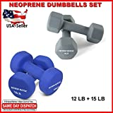 FITNESS MANIAC Neoprene Dumbbells Set Arms Shoulders Muscle Tone Weightlifting Exercise Weight 12LB + 15LB Pair Home Gym Bodybuilding Training Workout Fitness Strength Workout Non-Slip Dumbell