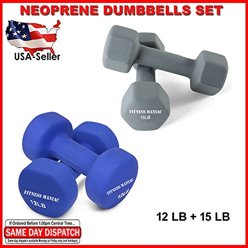 FITNESS MANIAC Neoprene Dumbbells Set Arms Shoulders Muscle Tone Weightlifting Exercise Weight 12LB + 15LB Pair Home Gym Bodybuilding Training Workout Fitness Strength Workout Non-Slip Dumbell by FITNESS MANIAC