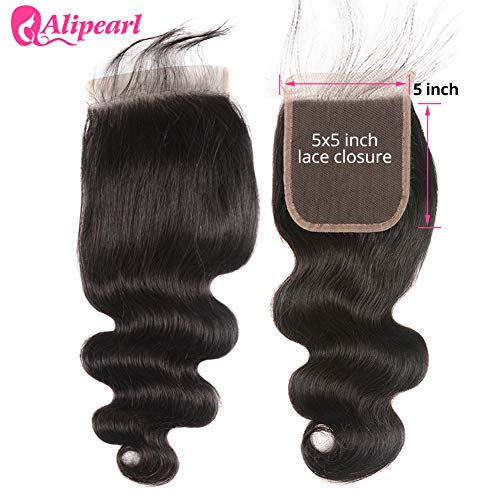 5x5 Lace Closure Ali Pearl 8A Brazilian Body Wave Human Hair Swiss Lace Closure Free Part with Baby Hair (5x5 closure - Pearl Wave
