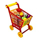 kids shopping trolley - Toddler & Kids Deluxe Pretend Play Supermarket Shopping Cart with Groceries, Educational Toy Shopping Trolley Playset for Kids Age 3 and Up (Red)