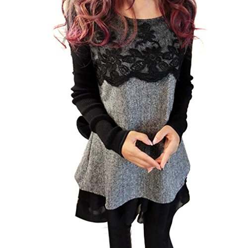 Hee Grand Lady's Loose Lace Woolen Elegant Winter Bottoming Dress Chinese XXXL Black Gray