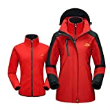 Modern Fantasy Womens Hooded Convertible Fleec Outdoor Sport Windproof Jacket Size US Red S