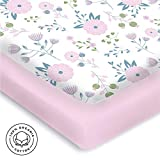 Graco Pack N Play Sheets Pickle & Pumpkin Premium Graco Pack n Play Mattress Sheet | 100% Organic Jersey Cotton Pack and Play Fitted Sheet | 2 Pack | Perfect for Graco Playard and Playpen Mattress | Floral & Pink Design