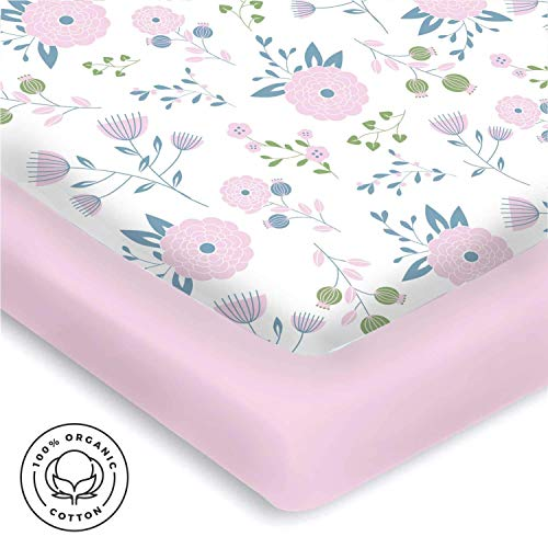 Pickle & Pumpkin Premium Graco Pack n Play Mattress Sheet | 100% Organic Jersey Cotton Pack and Play Fitted Sheet | 2 Pack | Perfect for Graco Playard and Playpen Mattress | Floral & Pink Design Review