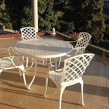 Lazy Susan - Table Ronde 120 cm Alice et 4 chaises de Jardin - Salon de  Jardin en Aluminium moulé, Blanc (chaises Emma)