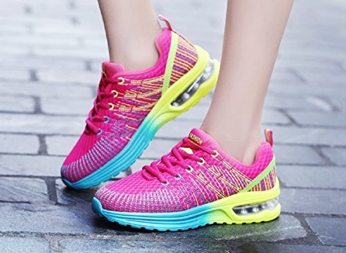 Homme Femme Chaussures de Running Sport Basket Respirante Travail Trail Sneakers Noir Rose Gris 35-46 2
